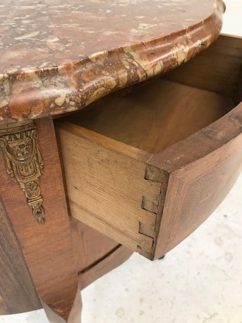 SOLD - Antique  French marble top chest - cv41